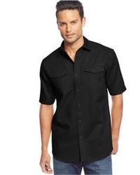 Sean John Short Sleeve Solid Linen Shirt
