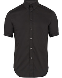 Alexander McQueen Short Sleeved Cotton Blend Poplin Shirt