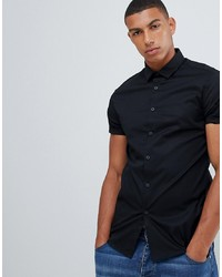 ASOS DESIGN Skinny Shirt In Black With Short Sleeves