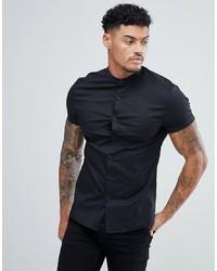 ASOS DESIGN Skinny Shirt With Grandad Collar In Black
