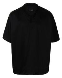Emporio Armani V Neck Cotton Blend Shirt