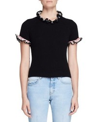 Alexander McQueen Crochet Trim Short Sleeve Sweater Black