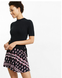 Express Lace Up Side Short Sleeve Ribbed Pullover