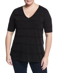 Lafayette 148 New York Plus Staggered Links Short Sleeve Sweater Plus Size