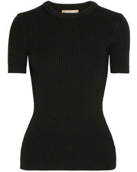 Michael Kors Michl Kors Collection Ribbed Wool Blend Sweater Black