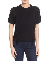 MICHAEL Michael Kors Michl Michl Kors Fringe Trim Short Sleeve Sweater Size Small Black