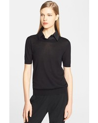 Marni Poplin Collar Short Sleeve Sweater
