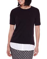 Sag Harbor Short Sleeve Modern Geo Layered Sweater