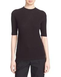 DKNY Short Sleeve Rib Knit Cotton Pullover