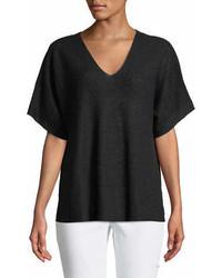 Short sleeve v neck organic linen top medium 6989845