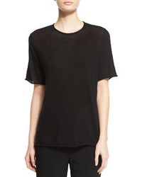 The Row Suskin Short Sleeve Cashmere Top Black