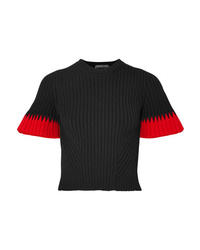 Alexander McQueen Two Tone Ribbed Knit Sweater