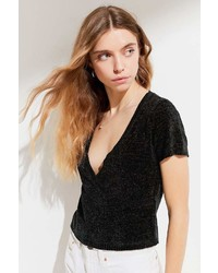 Urban Outfitters Uo Short Sleeve Surplice Chenille Sweater