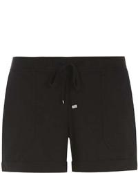 Black Cotton Poplin Shorts