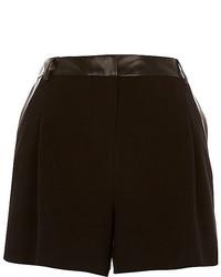 River Island Black Leather Look Trim Smart Shorts