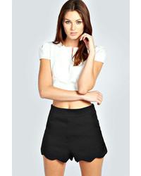 Boohoo Lara Scallop Hem Woven Shorts