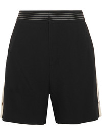 Chloé Canvas Trimmed Crepe Shorts Black