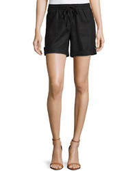 Neiman Marcus Cuffed Drawstring Linen Shorts Black