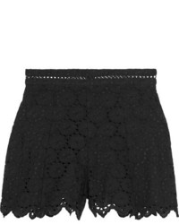 Zimmermann Divinity Wheel Broderie Anglaise Cotton Shorts Black