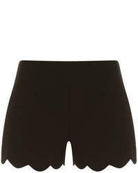 Dorothy Perkins Black Scallop Hem Shorts