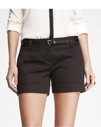 Express 4 12 Inch Belted Cuffed Cotton Sateen Shorts