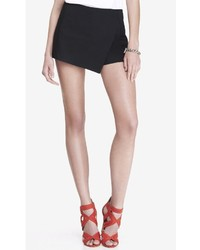 Express Ultimate Double Weave Faux Wrap Skort Black