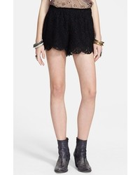 Free People Scalloped Lace Shorts Black Medium