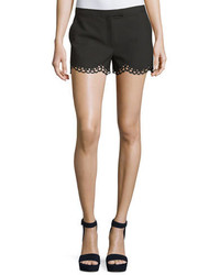 Elizabeth and James Hanlon Perforated Scallop Hem Shorts Black