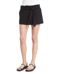 Helmut Lang Double Weave Cotton Belted Shorts Black