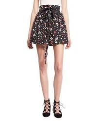 Marc Jacobs High Waist Painted Flower Shorts Black
