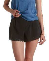 Charlotte Russe Laser Cut Scalloped High Waisted Shorts
