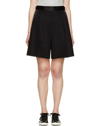 Marc Jacobs Black Cotton Silk High Waist Pleated Shorts