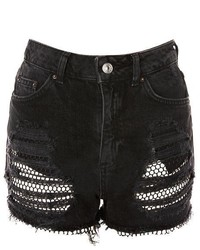 Topshop Moto Fishnet Mom Shorts