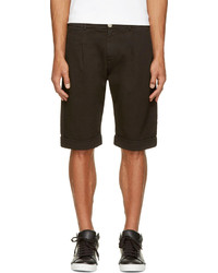 Balmain Pierre Black Twill Pleated Shorts