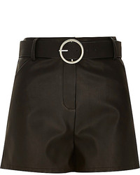 River Island Black Leather Look Belted High Waisted Shorts