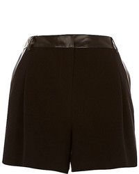 River Island Black Leather Look Trim Smart Shorts