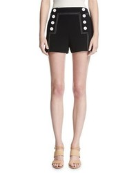 Derek Lam 10 Crosby Sailor Mid Rise Button Shorts Black