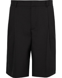 Givenchy Satin Trimmed Pleated Wool And Mohair Blend Bermuda Shorts