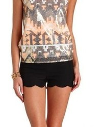Charlotte Russe Stretchy Scalloped High Waisted Shorts