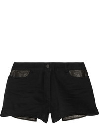 Alexander Wang T By Leather Trimmed Cotton Blend Twill Shorts