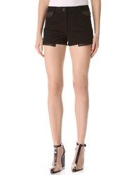 Alexander Wang T By Twill Shorts With Leather Yoke
