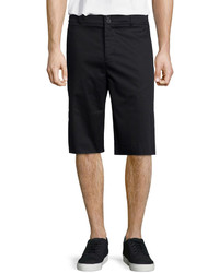 Helmut Lang Tailored Fit Sateen Stretch Shorts Black