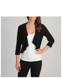 R and M Richards R M Richards Black Ruffle Trim Shrug