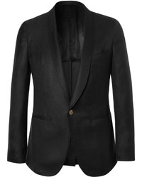 Caruso Black Slim Fit Cashmere And Silk Blend Tuxedo Jacket