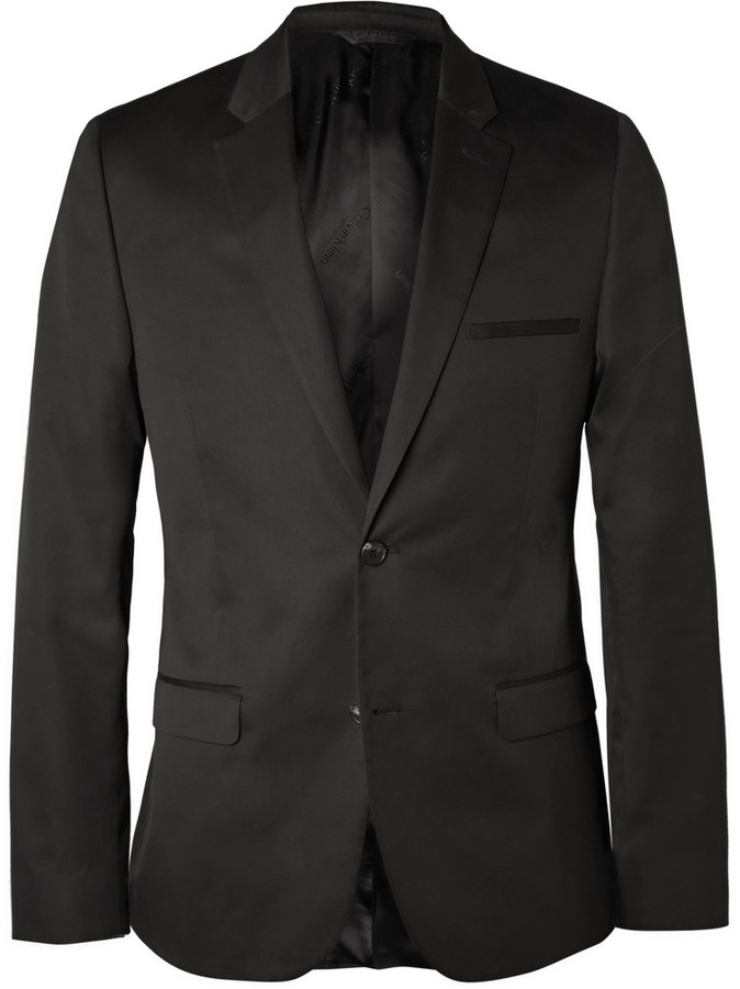 Calvin Klein Collection Black Crosby Slim Fit Cotton And Silk ...