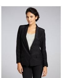 Drew Shoe Drew Black Silk Regan Single Button Long Boyfriend Blazer