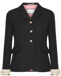 Gucci Ruffled Trimmed Silk And Wool Blend Blazer Black