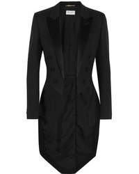 Saint Laurent Silk Satin Trimmed Wool Tuxedo Blazer Black