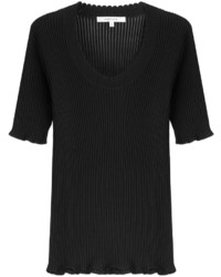 Carven Ribbed Cotton Top With Silk