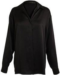 Black Silk Button Down Blouse